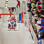 4 December 2015: Jake Hyrns and Anthony Espinoza, sliding for the United States of America, cross the finish line after their second run, finishing 11th for the day with a combined time of 1:28.782 in the Doubles Competition of the Viessmann Luge World Cup at the Olympic Sports Track in Lake Placid, New York, USA. Mandatory Credit: Ed Wolfstein Photo *** RAW (NEF) Image File Available ***
