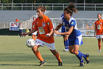 03 July 2008: Carolina's Casey Nogueira (27) is chased by Charlotte's Cory Alexander (17). The Charlotte Lady Eagles defeated the Carolina Railhawks Women 3-0 at WakeMed Stadium in Cary, NC in a 2008 United Soccer League W-League regular season game.