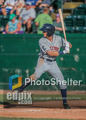31 July 2016: Connecticut Tigers outfielder Daniel Woodrow in action against the Vermont Lake Monsters at Centennial Field in Burlington, Vermont. The Lake Monsters edged out the Tigers 4-3 in NY Penn League action.  Mandatory Credit: Ed Wolfstein Photo *** RAW (NEF) Image File Available ***