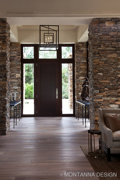 Modern stone column foyer montanna associates interior design Interior home column design ideas