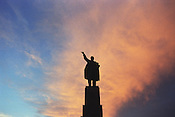 Eight years after the country declared its independence from the Soviet Union in 1991, a statue of Lenin still looks over Ala-Too Square, formerly Lenin Square, in the capital city of Bishkek, Kyrgystan.