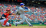 3 September 2012: Chicago Cubs infielder Darwin Barney in action against the Washington Nationals at Nationals Park in Washington, DC. The Nationals edged out the visiting Cubs 2-1, in the first game of heir 4-game series. Mandatory Credit: Ed Wolfstein Photo