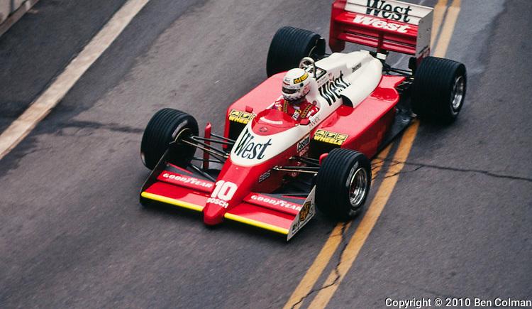 Christian Danner in the Zakspeed 871, Detroit 1987