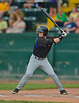 18 July 2013: Aberdeen Ironbirds outfielder Mike Yastrzemski in action against the Vermont Lake Monsters at Centennial Field in Burlington, Vermont. The Lake Monsters rallied to defeat the Ironbirds 6-4 in NY Penn League action. Mandatory Credit: Ed Wolfstein Photo