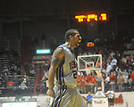 "Ole Miss guard Trevor Gaskins (23)  celebrates at the C.M. ""Tad"" Smith Coliseum in Oxford, Miss. on Wednesday, November 17, 2010. Ole MIss won 77-61."