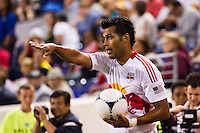 Wilman Conde (2) of the New York Red Bulls on a throw in. The New York Red Bulls defeated the Columbus Crew 3-1 during a Major League Soccer (MLS) match at Red Bull Arena in Harrison, NJ, on September 15, 2012.