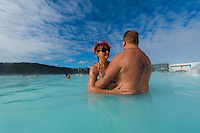 Ian and Joan Smith bathing in the Blue Lagoon in Reykjavik, Iceland. Hurtigruten cruise.