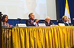 "Meena Bose, Governor Howard B. Dean III, Edward J. Rollins, and Lord Stewart Wood of Anfield are panelists at ""Change in the White House? Comparing the George W. Bush and Barack Obama Presidencies"" on Thursday, April 19, 2012, at Hofstra University, Hempstead, New York, USA. Hofstra's event was part of ""Debate 2012: Pride, Politics and Policy"" which leads up to the Presidential Debate Hofstra is hosting on October 15, 2012. Dr. Meena Bose is the Peter S. Kalikow Chair in Presidential Studies at Hofstra University. Governor Howard B. Dean III, is a former Democratic National Committee Chairman, presidential candidate, six term Governor of Vermont, and physician. Edward J. Rollins managed President Ronald Reagan's 49 state landslide reelection campaign in 1984, and had major managerial roles in nine other Presidential campaigns. Lord Stewart Wood, a British academic and Labour life peer in the House of Lords, served as Senior Policy Advisor to Prime Minister Brown and campaign manager for the successful campaign of Ed Milliband to Labour Party Leader, and a member of the Shadow Cabinet."
