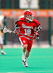 19 March 2011: St. John's University Red Storm Attacker Keith Switzer, a Freshman from Hillsdale, NJ, in action against the University of Vermont Catamounts at Moulton Winder Field in Burlington, Vermont. The Catamounts defeated the visiting Red Storm 14-9. Mandatory Credit: Ed Wolfstein Photo