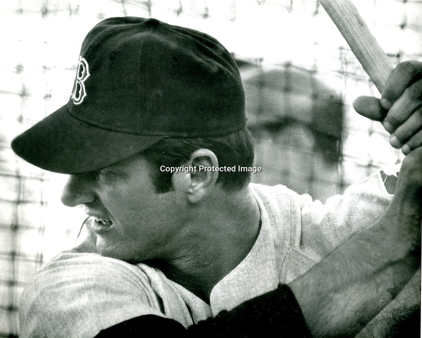 Boston Red Sox slugger Carl Yastrzemski in the batting cage..(photo Ron Riesterer/photoshelter)
