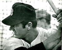 Boston Red Sox slugger Carl Yastrzemski in the batting cage..(photo Ron Riesterer/photoshelter)