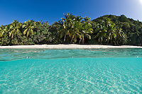 Split level view of Gibney Beach<br /> Virgin Islands National Park<br /> St. John, US Virgin Islands