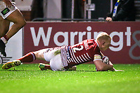 Picture by Alex Whitehead/SWpix.com - 09/03/2017 - Rugby League - Betfred Super League - Warrington Wolves v Wigan Warriors - Halliwell Jones Stadium, Warrington, England - Wigan's Liam Farrell scores a try.