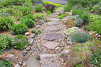 Rock garden on hillside sloping garden, with Flagstone and pebble stone path walkway to street in front of house with perennial plantings