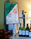 A hand-colored sign in the corner offers a cold wine concoction, in the tasting room at General's Ridge Vineyard and Winery.