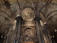 Retrochoir with Tomb of Alonso Fernandez de Madrigal (1410-55), Bishop of Avila, known as El Tostado, Avila Cathedral, 12th-14th centuries, Avila, Castile and Leon, Spain, with elaborate alabaster relief sculpture and soaring columns. Begun, 1095, in Romanesque style with fortifications, the style later switched to Gothic. Picture by Manuel Cohen