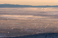 Ice fog hangs over the interior city of Fairbanks, Alaska on a chilly minus 40 degree fahrenheightday in January.