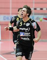 Handball 1. Bundesliga  2012/2013  in der Paul Horn Arena Tuebingen 15.09.2012 TV Neuhausen - Frisch Auf Goeppingen JUBEL,  Klaus Schuldt (TV Neuhausen)
