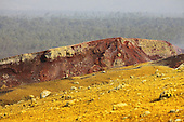 Nyamuragira Volcano, Kimanura Eruption, 2011-2012, showing yellow sulfurous deposits resulting from degassing of the scoria cone formed during eruption from the basaltic fissure, Democratic Republic of the Congo.