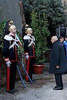 Roma, 24 Marzo 2013.Commemorazione per il 69° anniversario dell'eccidio delle Fosse Ardeatine,compiuto a Roma dalle truppe di occupazione della Germania nazista il 24 marzo 1944, furono uccisi, 335 civili e militari italiani. Il Presidente della Repubblica Giorgio Napolitano rende omaggio ai caduti.