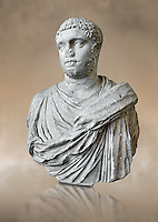 Roman sculpture bust of Publius Septimius Antoninus Geta better known as Geta brother of Caracalla, made between 209 and 212 AD and excavated from the via XX Septembre, Rome. Geta was the younger son of Septimius Severus by his second wife Julia Domna. Geta  was a Roman emperor who ruled with his father Septimius Severus and his older brother Caracalla from 209 until his death, when he was murdered on Caracalla's orders.  The National Roman Museum, Rome, Italy