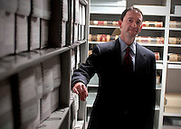 "Lawrence Brewer, Division Director of Life Cycle Management for National Archives and Records Administration, is photographed among the ""stacks"" at the National Archives in College Park, Maryland.  June 6, 2007. (James J. Lee / Times Staff)"