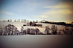 A farm ina white winter landscape, Austria Europe.