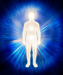 Man ethereal body energy emanations. Human luminous being, aura, spiritual conceptual illustration