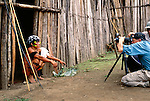 Art Wolfe photographs Yanomamo tribesman, Parima Tapirapeco National Park, Venezuela