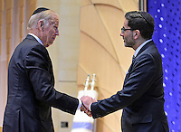 United States Vice President Joe Biden is welcomed by Rabbi Gil Steinlauf of Adas Israel Congregation prior to making remarks at the official National Memorial Service for Shimon Peres in the synagogue in Washington, DC on October 6, 2016.  <br /> Credit: Ron Sachs / CNP /MediaPunch