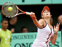 Alize Cornet (FRA) (21) against Maret Ani (EST) in the first round of the Women's Singles. Cornet beat Ani 6-4 7-5..Tennis - French Open - Day 4 - Wed 27th May 2009 - Roland Garros - Paris - France..Frey Images, Barry House, 20-22 Worple Road, London, SW19 4DH.Tel - +44 20 8947 0100.Cell - +44 7843 383 012