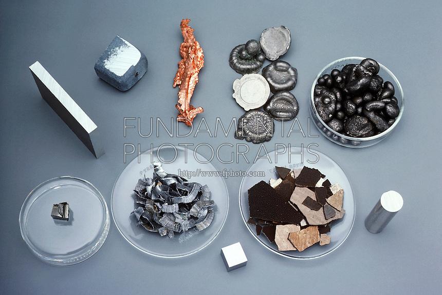 COMMON TRANSITION METALS<br /> Metal Elements<br /> Top row, left to right: aluminum, zinc, copper, nickel, cobalt. Bottom row, left to right: scandium, vanadium, chromium, manganese, titanium