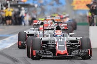 March 19, 2016: Romain Grosjean (FRA) #8 from the Haas F1 Team leaving the pits for qualifying at the 2016 Australian Formula One Grand Prix at Albert Park, Melbourne, Australia. Photo Sydney Low
