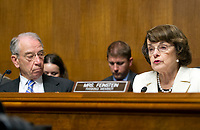 United States Senator Dianne (Democrat of California), right, Ranking Member, US Senate Committee on the Judiciary makes a statement on the President's firing of FBI Director James Comey on Capitol Hill in Washington, DC on Wednesday, May 10, 2017.  Listening at left is US Senator Chuck Grassley (Republican of Iowa), Chairman, US Senate Committee on the Judiciary.<br /> Credit: Ron Sachs / CNP /MediaPunch