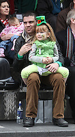 17/03/2011.Bernard dunne with daughter Caoimhe Dunne (4).during the St. Patrick's Day festival in Dublin's City Centre..Photo: Gareth Chaney Collins