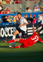 21 July 2010:   Bolton Wanderers defender Samuel Ricketts No. 18 and Toronto FC midfieder Drazen Vukovic No. 37 in action during the Carlsberg Cup game between the Bolton Wanderers and Toronto FC at BMO Field in Toronto..Bolton Wanderers FC  won on penalties.