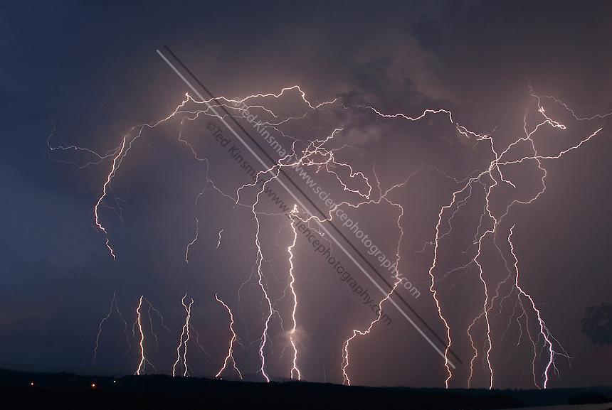 Multiple lightning strikes photographed over the Finger Lakes in New York.