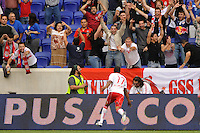 Jeremy Hall (17) of the New York Red Bulls celebrates scoring in the 50th minute. The New York Red Bulls defeated Juventus F. C. 3-1 during a friendly at Red Bull Arena in Harrison, NJ, on May 23, 2010.