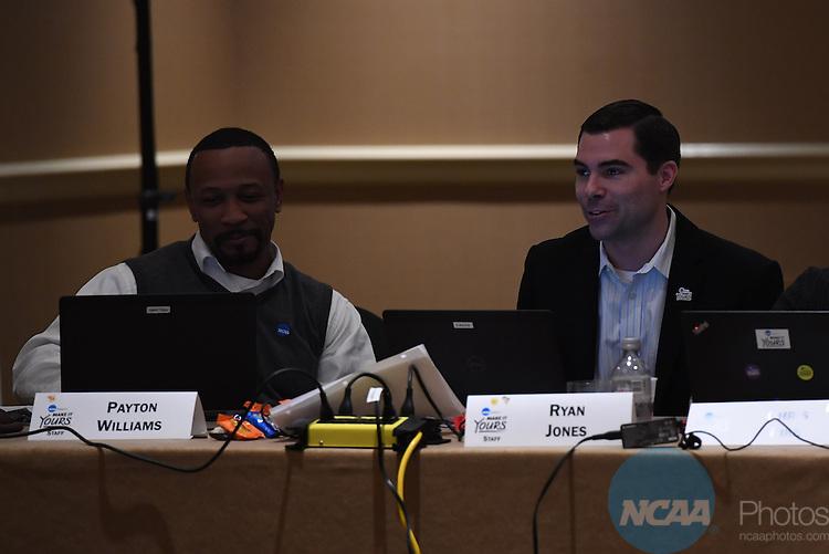 17 JAN 2017:  The NCAA Division II SAAC meeting takes place during the 2017 NCAA Convention takes place at the Gaylord Opryland Resort & Convention Center in Nashville, TN. Justin Tafoya/NCAA Photos (Pictured: Ryan Jones and Payton Williams)