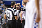 A referee points towards the Kentucky bench after their scuffle with Mississippi State during the game against the Mississippi State Bulldogs at Rupp Arena on January 20, 2015 in Lexington, Kentucky. Photo by Taylor Pence