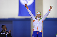 SCHAATSEN: CALGARY: Olympic Oval, 08-11-2013, Essent ISU World Cup, podium 1500m, winnaar Koen Verweij (NED), ©foto Martin de Jong