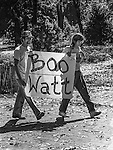 October 31, 1981:  Protesters express their views.  James G. Watt Secretary of the Interior (1981 to 1983) toured Yosemite National Park.  Watt was considered a controversial cabinet appointment by President Ronald Reagan because he was perceived as being hostile to environmentalism, and endorsed development of federal lands by foresting and ranching, and for other commercial interests.  Photo by Al Golub/Golub Photography
