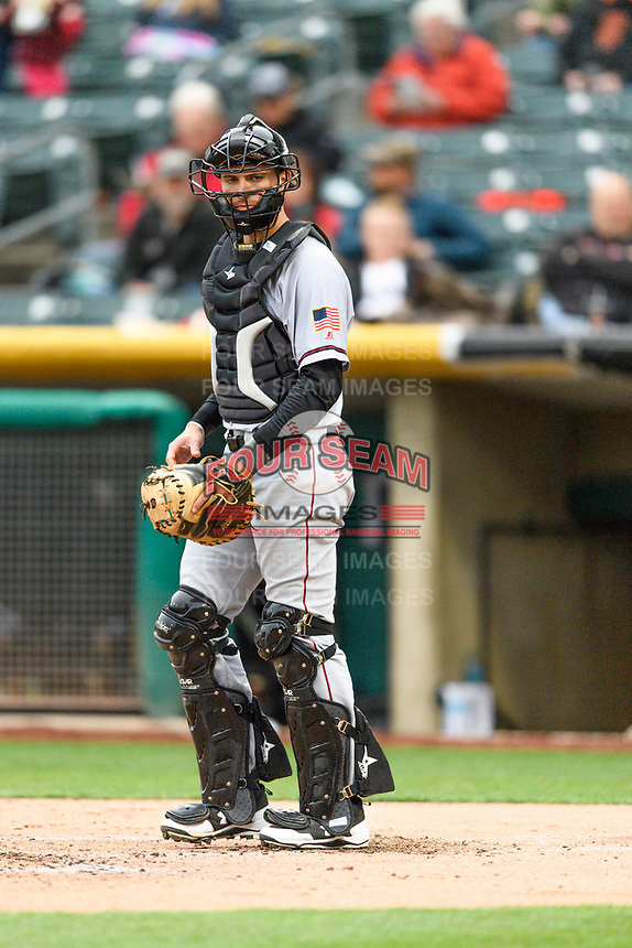 Jeff Arnold (19) of the Sacramento River Cats on defense against the Salt Lake Bees in Pacific Coast League action at Smith's Ballpark on April 11, 2017 in Salt Lake City, Utah. The River Cats defeated the Bees 8-7. (Stephen Smith/Four Seam Images)