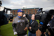 Durham Bulls pitching sensation David Price faces the cameras.
