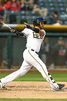 Francisco Arcia (5) of the Salt Lake Bees follows through on his swing against the Sacramento River Cats during the Pacific Coast League game at Smith's Ballpark on August 11, 2017 in Salt Lake City, Utah. The River Cats defeated the Bees 8-7. (Stephen Smith/Four Seam Images)