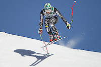 Bode Miller from the USA representing Team America, takes to the air and jumps the Hundschopf at the world famous Lauberhorn downhill ski race Wengen Switzerland part of the Audi FIS Alpine skiing world cup 2007-08 season