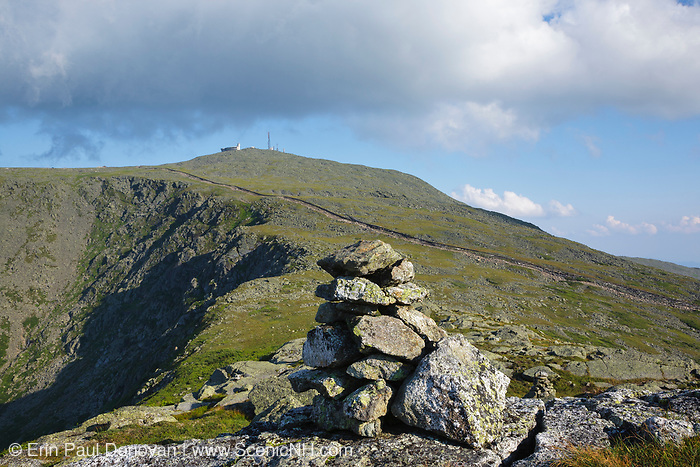 Mount Washington from Mount Clay in Thompson and Meserve's Purchase, New Hampshire. The Appalachian Trail crosses over the summit of Mount Washington. Tracks from the Mount Washington Cog Railroad are in view.