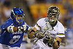 29 April 2016: Notre Dame's Sergio Perkovic (right) and Duke's John Prendergast (6). The University of Notre Dame Fighting Irish played the Duke University Blue Devils at Fifth Third Bank Stadium in Kennesaw, Georgia in a 2016 Atlantic Coast Conference Men's Lacrosse Tournament semifinal match. Duke won the game 10-9 in overtime.