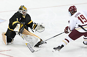 Alex Leclerc (CC - 1), Ryan Fitzgerald (BC - 19) - The Boston College Eagles defeated the visiting Colorado College Tigers 4-1 on Friday, October 21, 2016, at Kelley Rink in Conte Forum in Chestnut Hill, Massachusetts.The Boston College Eagles defeated the visiting Colorado College Tiger 4-1 on Friday, October 21, 2016, at Kelley Rink in Conte Forum in Chestnut Hill, Massachusett.
