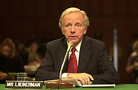 United States Senator Joseph Lieberman (Democrat of Connecticut), the 2000 Democratic Party nominee for Vice President of the United States, testifies before the U.S. Senate Committee on Commerce, Science, and Transportation hearing on marketing Violence to Children in Washington, DC on September 13, 2000.<br /> Credit: Ron Sachs / CNP/MediaPunch